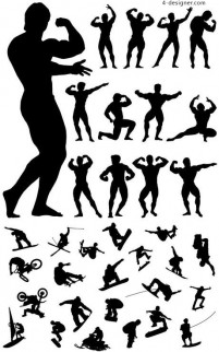 Fitness and sports action figures silhouette vector material