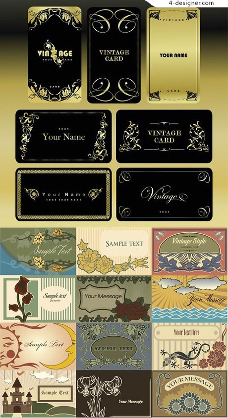 Gilt lace artistic background card vector material