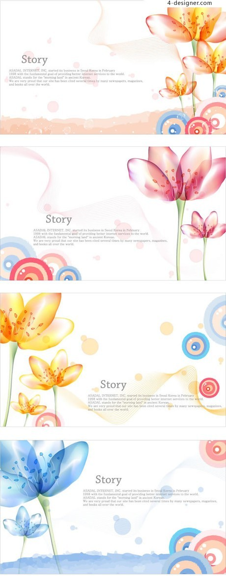 Gorgeous lily color line background vector material