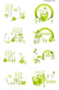 Green cartoon series vector material elements