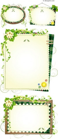 Green floral decorative frame vector material