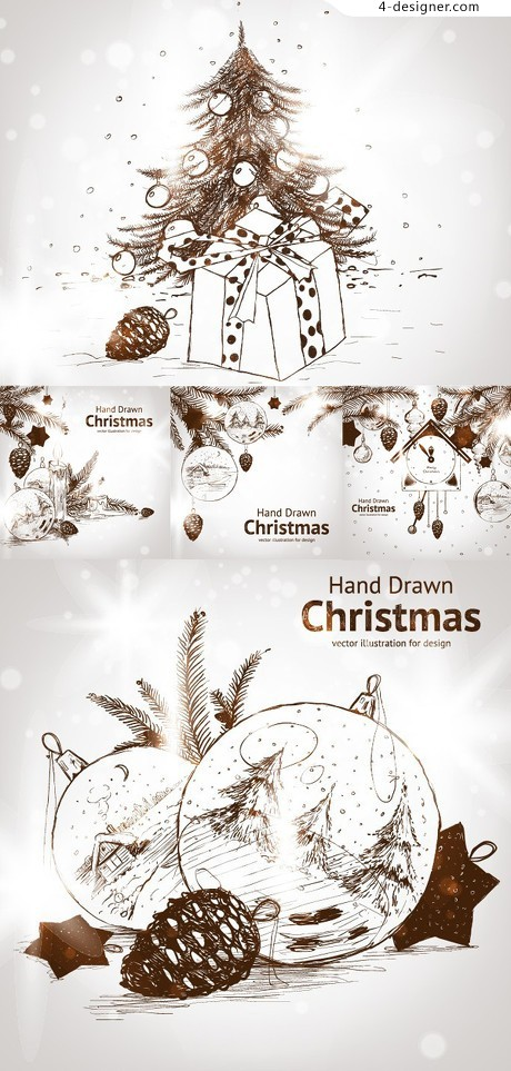 Hand drawn sketch effect Christmas background vector material 01