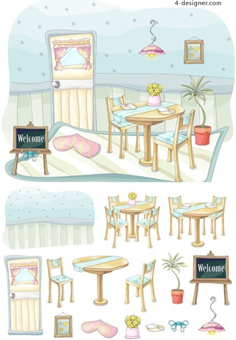 Hand painted Restaurant vector material