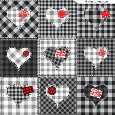 Heart style car side cloth background vector material