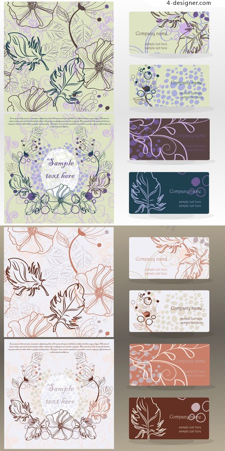 Line drawing pattern vector card design