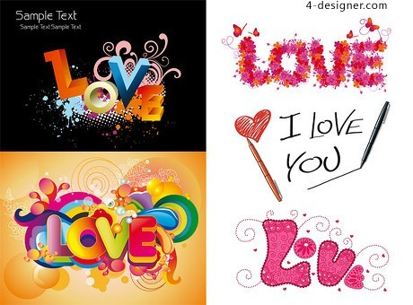 Love love colorful pattern vector material