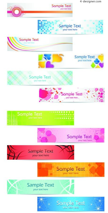 Lovely and lively banner design vector material