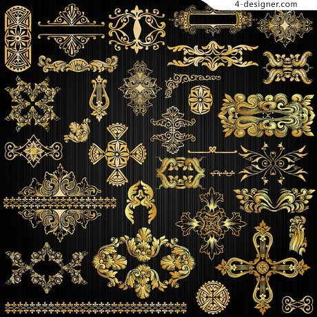 Ornate gold pattern pattern vector material