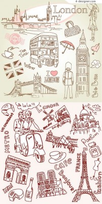 Paris and London line drawing vector material