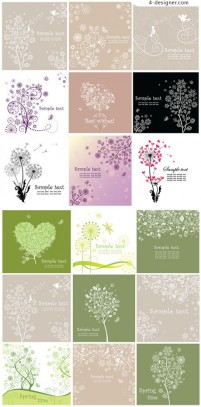 Plant pattern cards vector material