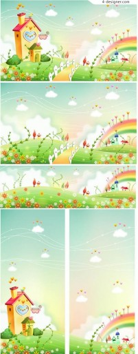 Rainbow lodge aesthetic cartoon background vector illustration