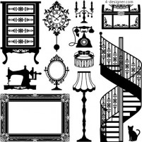 Retro furniture vector material