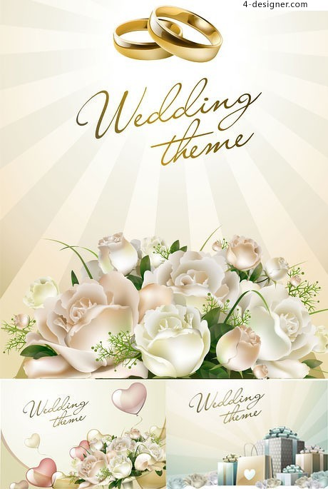 Romantic flowers wedding theme vector material