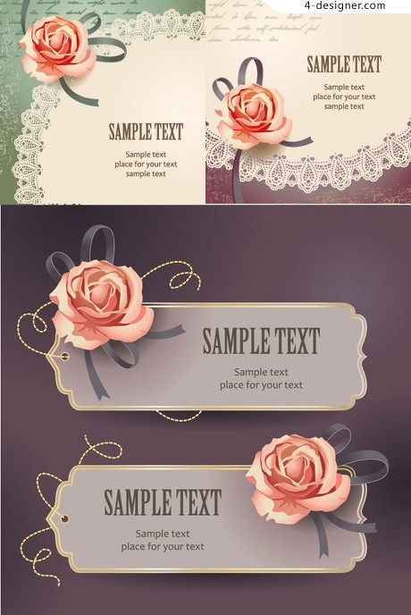 Rose invitation card vector material