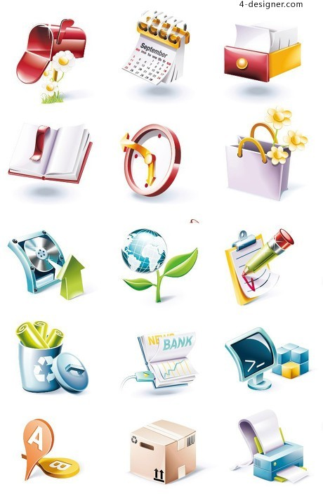 Several small 3D icon vector material