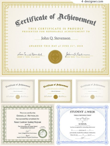 Simple and practical certificate background vector material