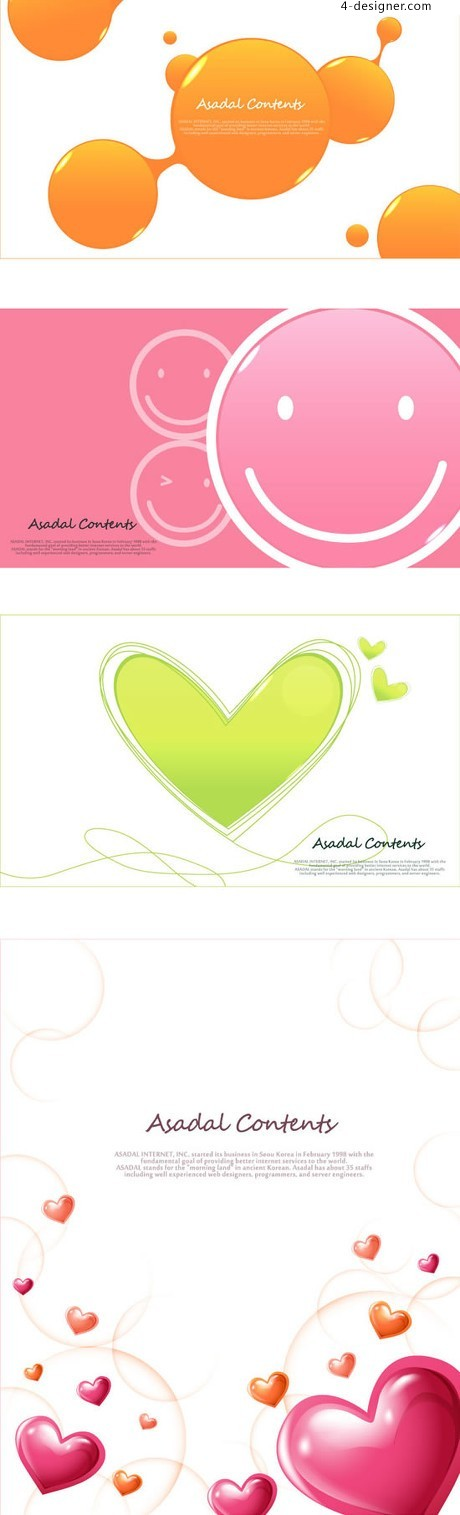 Smiley face romantic love background vector material