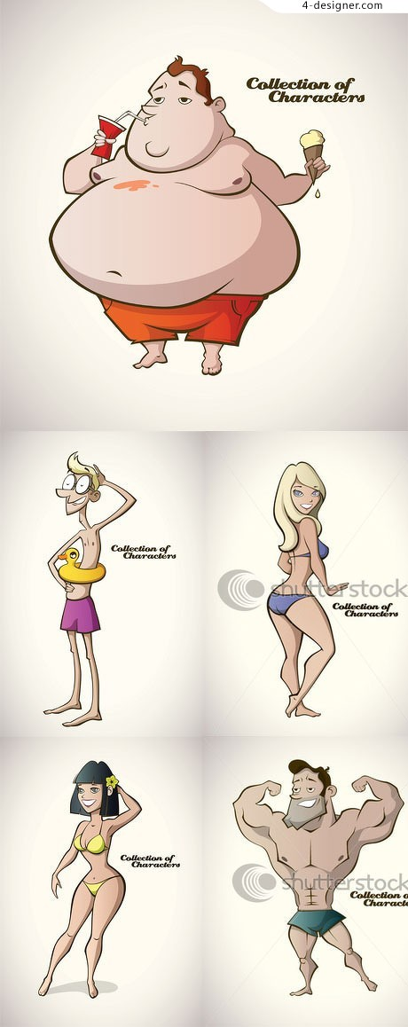 Swimsuit cartoon characters vector material