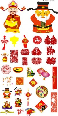 Traditional Chinese New Year element vector material 01