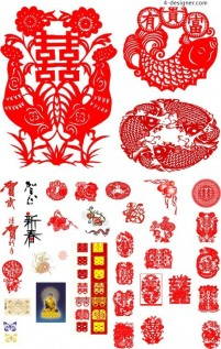 Traditional Chinese New Year element vector material 05