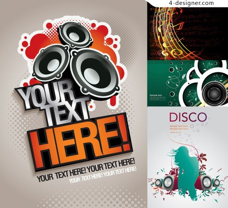 Trend music theme vector material