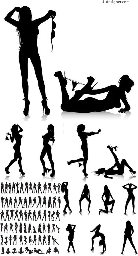 Undressing sexy silhouette vector material
