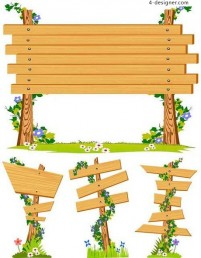 Wooden fence signs vector material