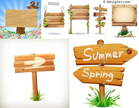 Wooden signs Billboard vector material