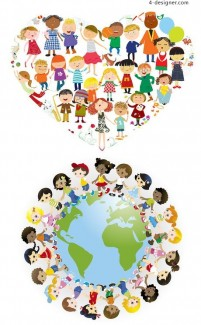 World Children s unity vector illustration