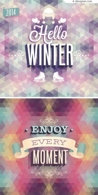 2014 winter poster template vector material