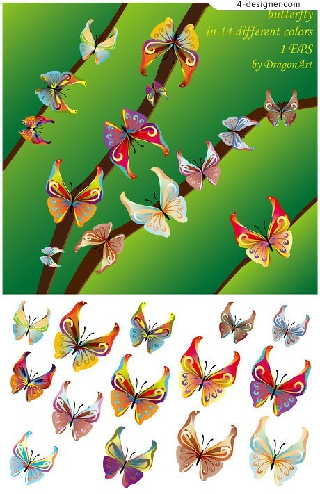 314 beautiful butterflies vector material