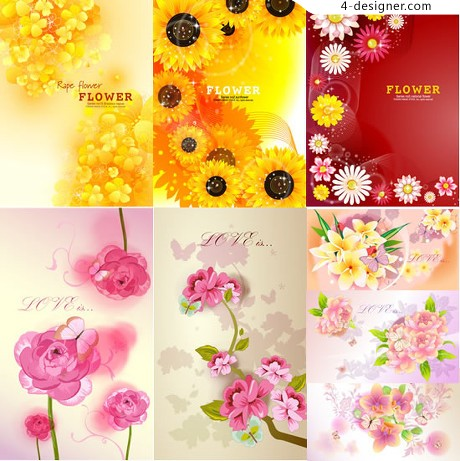 9 beautifully colorful flowers background vector material