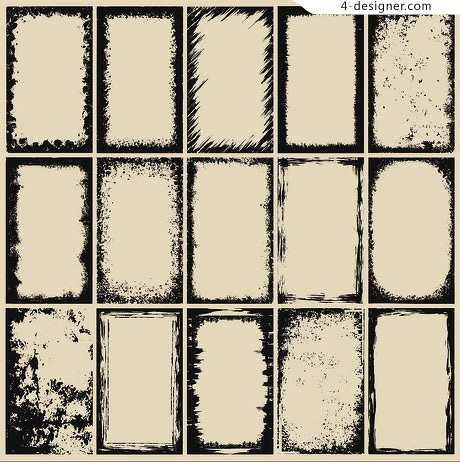 A variety of hand drawn style retro splash border vector material