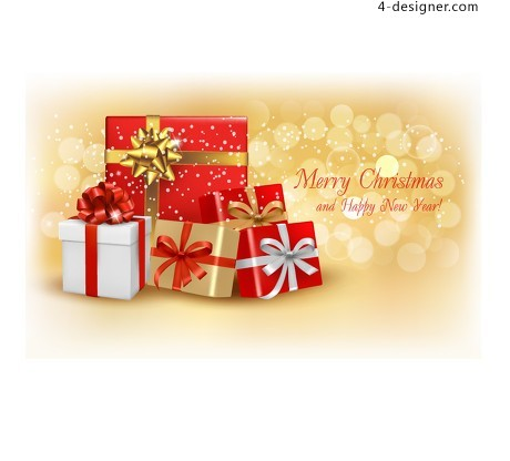 Beautiful Christmas greeting card cover vector material