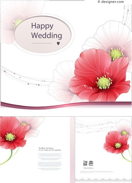 Beautiful and romantic and elegant floral decoration vector material