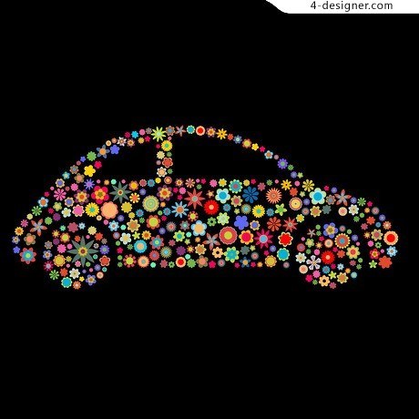 Beautiful flowers Beetle car composition vector material