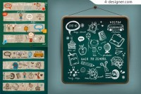 Blackboard cute element vector material