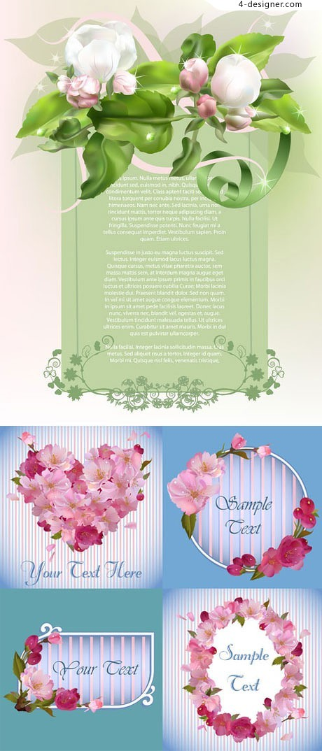 Breath of spring flowers background vector material
