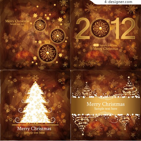Brown Gorgeous Christmas background vector material