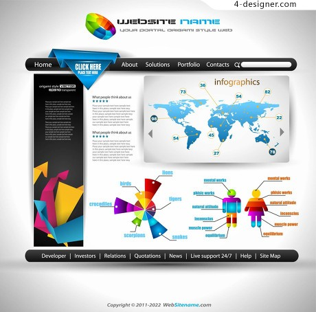Business website information graphic interface vector material