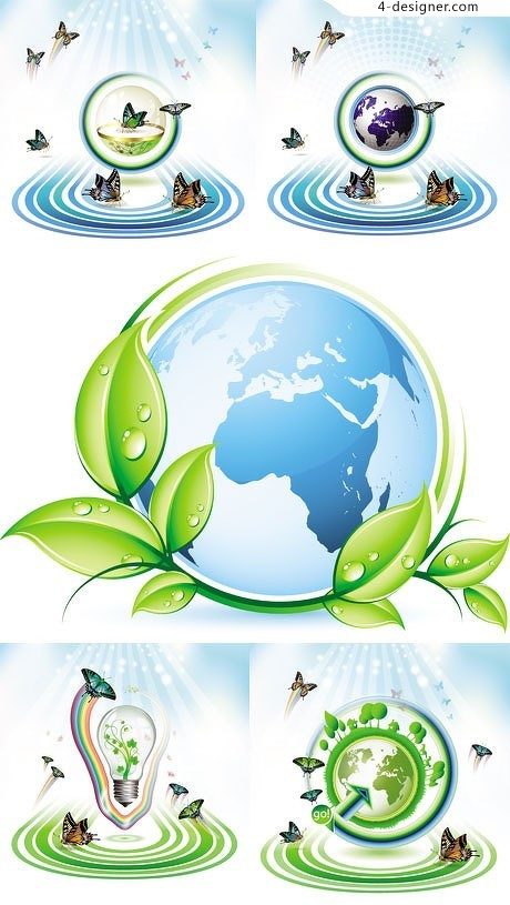 Butterflies and Earth vector material