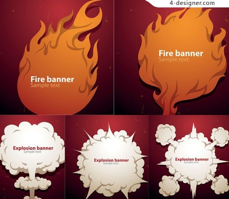 Cartoon fireball explosion smoke dialog bubbles vector material
