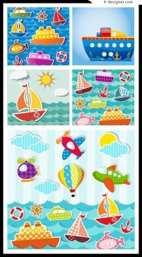 Cartoon marine transport vector material