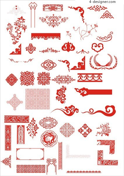Chinese traditional classical elements vector material