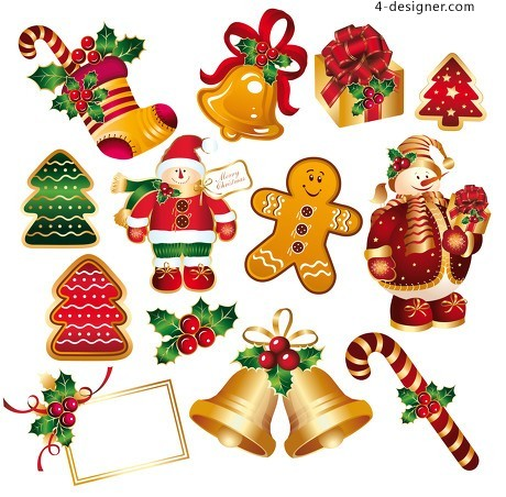 Christmas decorative elements vector material 2