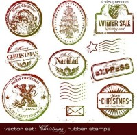 Christmas postmark element vector material
