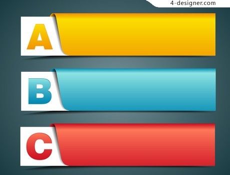 Color corners banner vector material