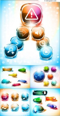 Colorful buttons vector material 02