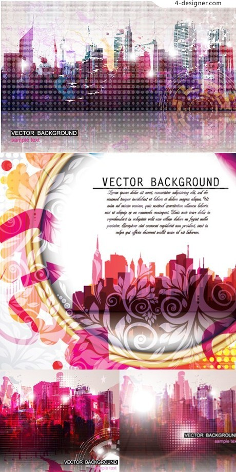 Colorful city silhouette vector material