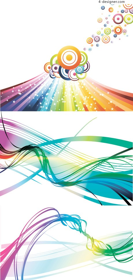 Colorful gorgeous curve background vector material